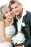 Young happy bride and groom Royalty Free Stock Photo