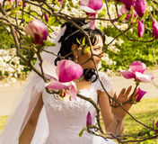Young happy bride smells flowers magnolia outdoors Stock Image