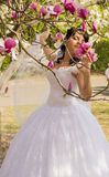 Young happy bride smells flowers magnolia outdoors Royalty Free Stock Photo
