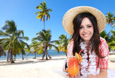 Young happy brunette girl with cocktails Royalty Free Stock Photo