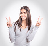 Young happy brunette stock photo