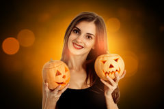 Young happy brunette woman in halloween style Stock Image