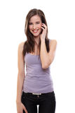 Young happy brunette woman making a call Stock Photography