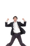 Young happy business man jumping in the air , isolated on white royalty free stock photography