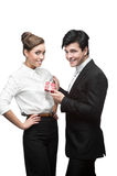 Young happy business people holding gift Royalty Free Stock Photography
