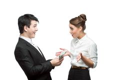 Young happy business people holding money Stock Images