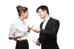 Young happy business people holding money Royalty Free Stock Photography
