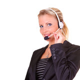 Young happy business woman. With headset Stock Image