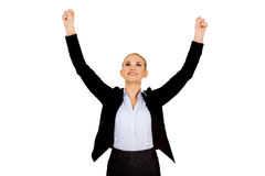 Young happy business woman with arms up Stock Photo