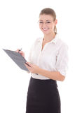 Young happy business woman with clipboard isolated on white Royalty Free Stock Image