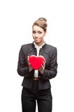 Young happy business woman on valentine's day Royalty Free Stock Photography