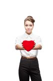 Young happy business woman on valentine's day Royalty Free Stock Photos