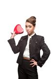 Young happy business woman on valentine's day Royalty Free Stock Images