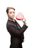 Young happy business woman on valentine's day Stock Photo
