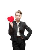 Young happy business woman on valentine's day Stock Images