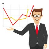 Young happy businessman with glasses showing positive line charts. On white Royalty Free Stock Images