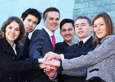 A young and happy businessteam in formal clothes Stock Image