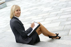 A young and happy businesswoman stock photos
