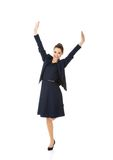 Young happy businesswoman with hands up Royalty Free Stock Photos
