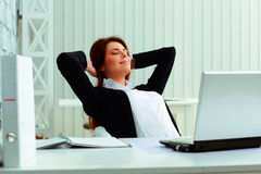 Young happy businesswoman resting Stock Image