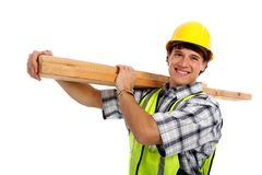 Young Happy Carpenter Holding Building Materials Royalty Free Stock Photo