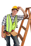 Young Happy Carpenter with Ladders Stock Photos
