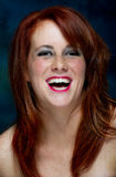 Young happy casual red haired female portrait Stock Photo