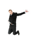 Young happy caucasian businessman jumping Royalty Free Stock Images