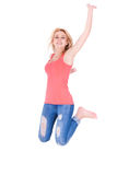 Young happy caucasian teenage girl jumping - Caucasian people. Young happy caucasian teenage girl jumping, isolated on white background  - Caucasian people Stock Photos