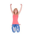 Young happy caucasian teenage girl jumping - Caucasian people. Young happy caucasian teenage girl jumping, isolated on white background  - Caucasian people Royalty Free Stock Image