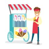 Caucasian white street seller selling ice cream. Young happy caucasian white street seller dressed in an apron standing next to the cart with ice cream. Small Royalty Free Stock Image