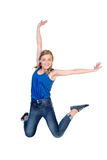 Young happy caucasian woman jumping Stock Photos