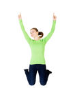 Young happy caucasian woman jumping in the air Royalty Free Stock Photography