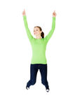Young happy caucasian woman jumping in the air Stock Image