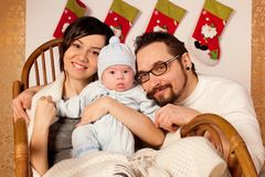 Young happy celebrate Chistmas at home Stock Photos