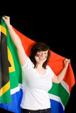 Young happy and cheerful female, south africa flag Stock Image