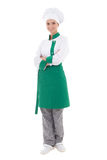 Young happy chef woman in uniform - full length isolated on whit. E background stock photography