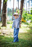Young happy child boy in adventure park. Royalty Free Stock Image
