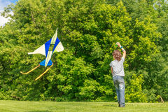 Young happy child boy playing with bright kite in park Royalty Free Stock Photos