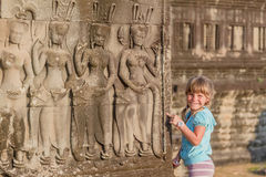 Young happy child girl, angkor wat, cambodia Royalty Free Stock Images