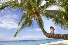 Young Happy Child Girl In Summer Hat On Tropical Background Stock Images