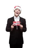 Young happy christmas business man Royalty Free Stock Photo