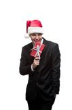 Young happy christmas business man Royalty Free Stock Photos
