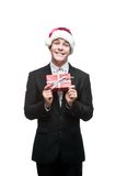 Young happy christmas business man Royalty Free Stock Images
