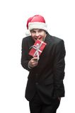 Young happy christmas business man Royalty Free Stock Image