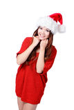 Young happy Christmas girl smile. Isolated on white background Stock Photo
