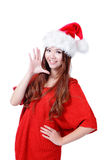 Young happy Christmas girl smile. Isolated on white background Stock Images