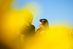 Young happy couple. On the field. Shoot on the nature Royalty Free Stock Images