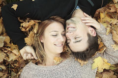 Young happy couple in autumn season Royalty Free Stock Photo