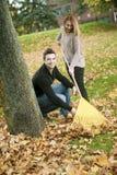 Young happy couple in autumn season Stock Photos